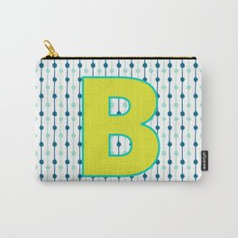 Letter B Monogram Blue, Green and Yellow with Pattern Carry-All Pouch