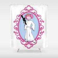 princess bubblegum Shower Curtains featuring Princess Bubblegum/Leia by createASAP
