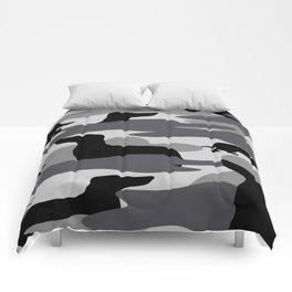 Grey Camo Weiner Dogg Comforters