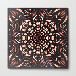 Burning Mandala Flower - Intense Passion Geometric Boho Art Metal Print