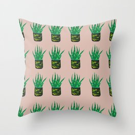 Snake plant pattern - Beige Throw Pillow