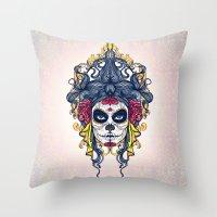 dia de los muertos Throw Pillows featuring Dia de los Muertos by merci