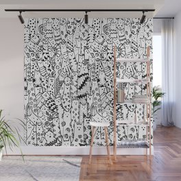 Cat Doodles Wall Mural