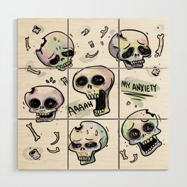 Anxiety Skulls Wood Wall Art