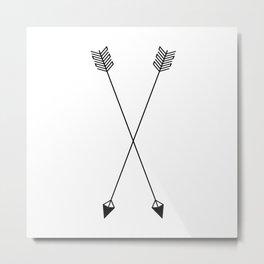 Two Black & White Tribal Arrows Art Metal Print