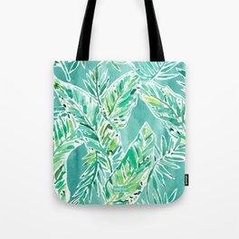 LEAFY ABUNDANCE Green Banana Leaf Print Tote Bag