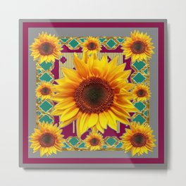 Burgundy-Teal Sunflowers Grey Art Metal Print