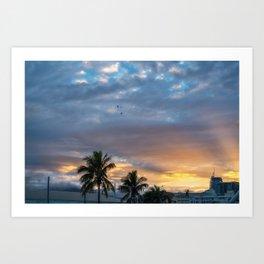 Wonderful Sunburst in the Morning at Sunrise in Noumea, New Caledonia. Art Print