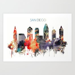 colorful watercolor San Diego skyline Art Print
