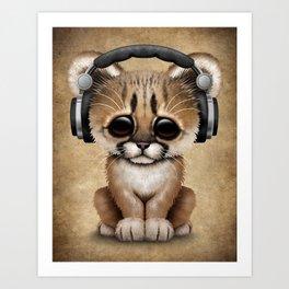 Cute Cougar Cub Dj Wearing Headphones Art Print