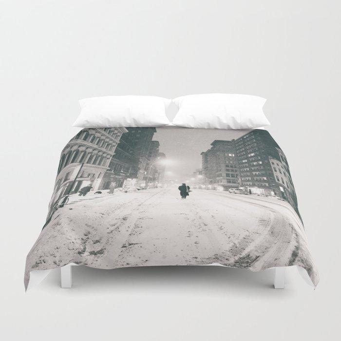 New York - Snow at Night Duvet Cover