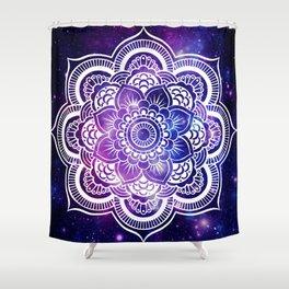 Mandala purple blue galaxy space Shower Curtain