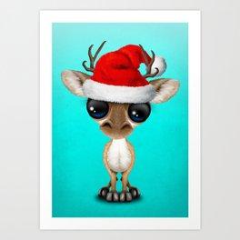 Christmas Deer Wearing a Santa Hat Art Print