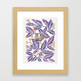 Happy Sloth – Tropical Indigo Leaves Framed Art Print