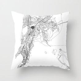 Mumbai White Map Throw Pillow
