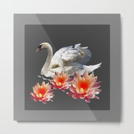 White Swan & Peach Water Lilies Grey Art Patterns Metal Print