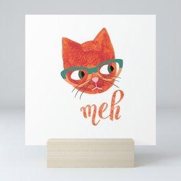 Hipster Cat in Glasses - Meh - Illustration Mini Art Print