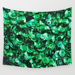 Green Scattered Sequins Wall Tapestry