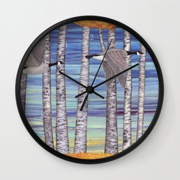 Canada geese, hedgehogs, and autumn birch trees Wall Clock