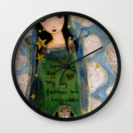 In heaven with my Dog by Flor Larios Wall Clock