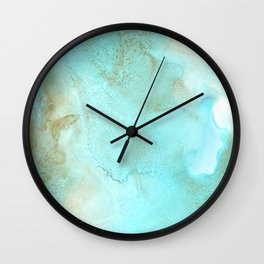 Gold and turquoise abstract ink art Wall Clock