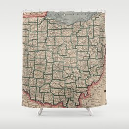 Vintage Map of Ohio (1883) Shower Curtain