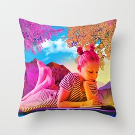 Reading in Parrish's Dreams Throw Pillow
