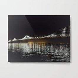 Bay Bridge Night Time Metal Print