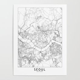 Seoul White Map Poster