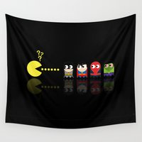 pacman Wall Tapestries featuring Pacman with Superheroes Ghosts by NicoWriter
