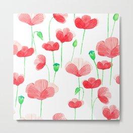 Poppyfield pattern Metal Print