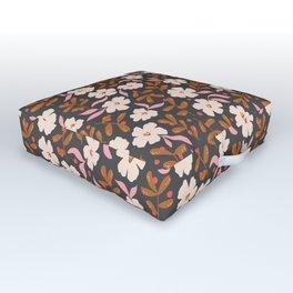 Stella's Garden Floral | Black Outdoor Floor Cushion