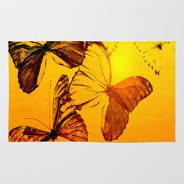 Fly fly butterfly! - Butterflies on a orange background with sunlight #society6 #buyart Rug