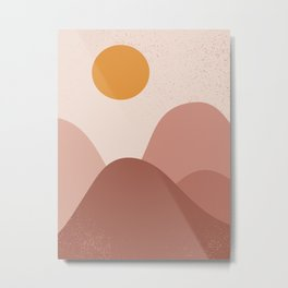 Minimalist Minimal Mountain Landscapes Colour Block Ancient Ruins Sunset Pastel Colours Midcentury Modern Cool Magical Mystical Abstract Art Bohemian Boho Style Trendy  Metal Print