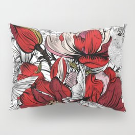 Boho Chic Red Poppy Flowers with Black and White Background Pillow Sham