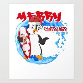 Surfing Christmas Penguin Art Print