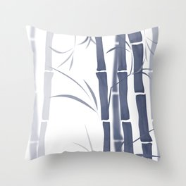 Bamboo . Blue and white . Throw Pillow