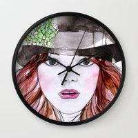 emma stone Wall Clocks featuring Emma Stone by Vicky Ink.