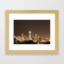 Space Needle in Gold Framed Art Print