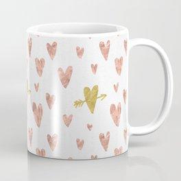 Yellow Rose Gold Hearts Pattern Coffee Mug