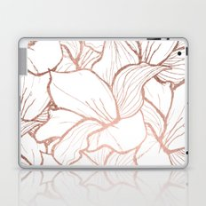 Modern handdrawn abstract faux rose gold flowers pattern Laptop & iPad Skin