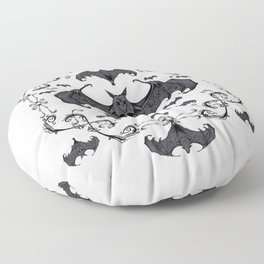 Bats and Filigree - Black and White Floor Pillow
