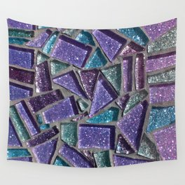 Sparkly Purple Mosaic  Wall Tapestry