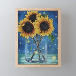 Lightning Bugs and Sunflowers Framed Mini Art Print