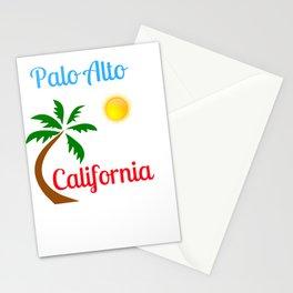Palo Alto California Palm Tree and Sun Stationery Cards