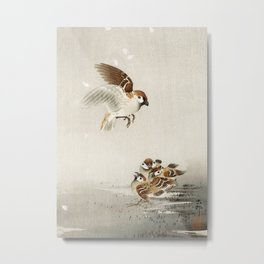 Sparrow mom and its chicks - Vintage Japanese Woodblock Print Art Metal Print
