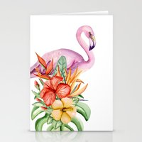 flamingo Stationery Cards featuring Flamingo by Julia Badeeva