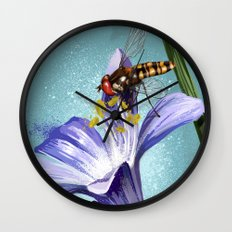 Wasp on flower 11 Wall Clock