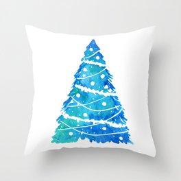 Blue Christmas Tree Card Throw Pillow