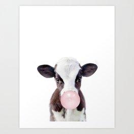 Bubble Gum Cow Art Print
